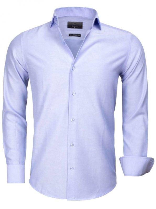 Goedkoop heren overhemd effen blauw 65012 CASERTA voorkant