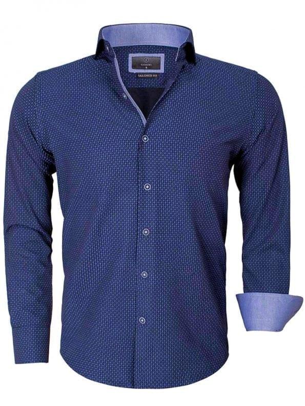 Goedkoop heren overhemd gewerkt blauw 65013 voorkant