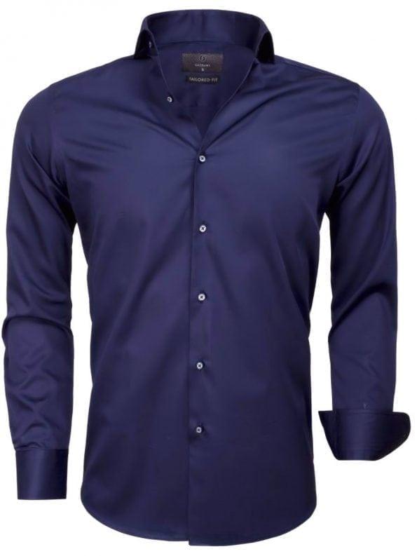 Heren overhemd Blauw effen lange mouw 65011 CARRARA voorkant