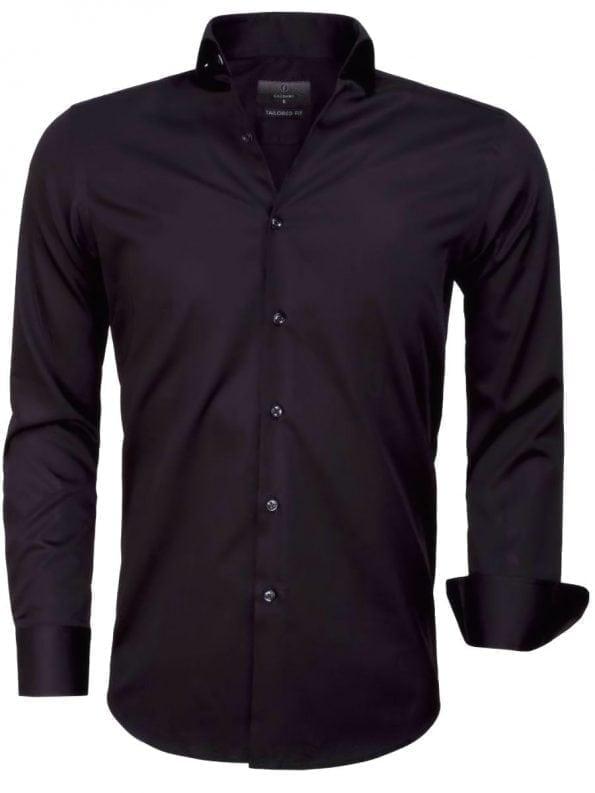 Heren overhemd zwart effen lange mouw 65011 CARRARA voorkant