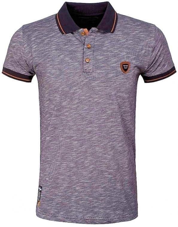 Wam Denim poloshirt gemeleerd streep zwart shirt met stretch met logo 79420 (1)