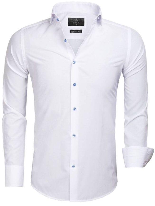 Slim fit heren overhemd   zwart   hoge witte boord   Italian