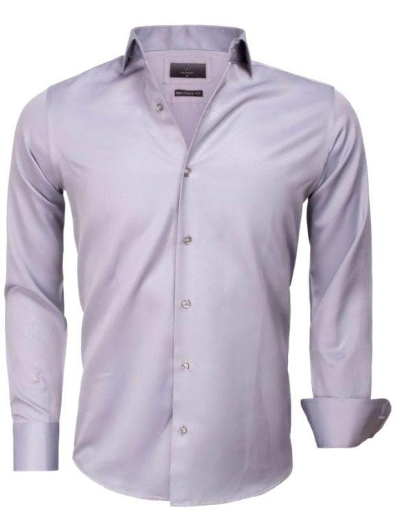 Goedkoop heren overhemd gewerkt grijs 65012 CASERTA