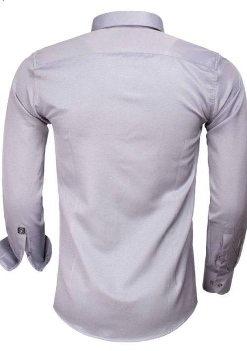 Goedkoop heren overhemd gewerkt grijs 65012 CASERTA achterkant