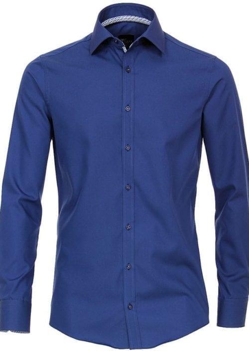 Ventiherenoverhemdenblauwlangemouwkentkraagslimfitvoorkant