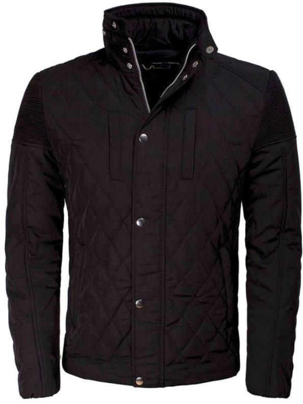 Wam Denim jas heren zwart jack geruit motief 71223 voorkant