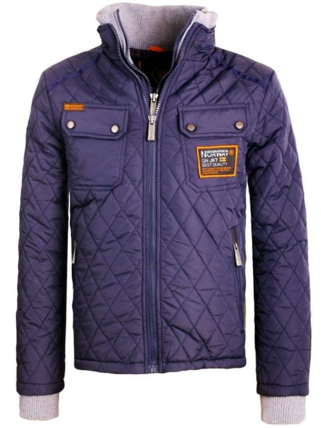 geographical norway jas heren winterjassen geruit motief blauw onlineshop bigalion voorkant