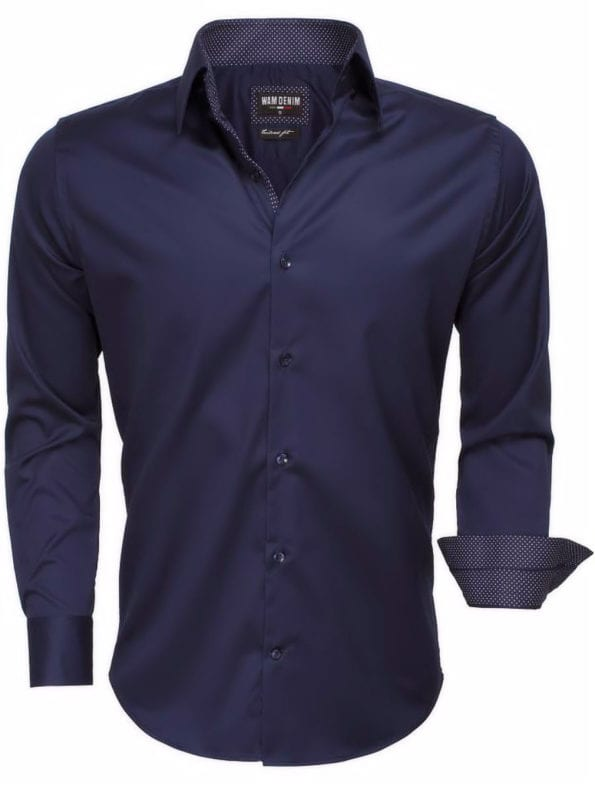 wam-denim-overhemd blauw lange mouw-75513-navy