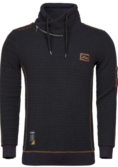 Wam Denim trui met sjalkraag heren Sweater 76228 Anaheim Black voorkant
