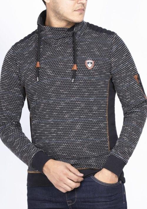 Wam Denim trui met sjalkraag heren Sweater 76231 Rochester Black achterkant