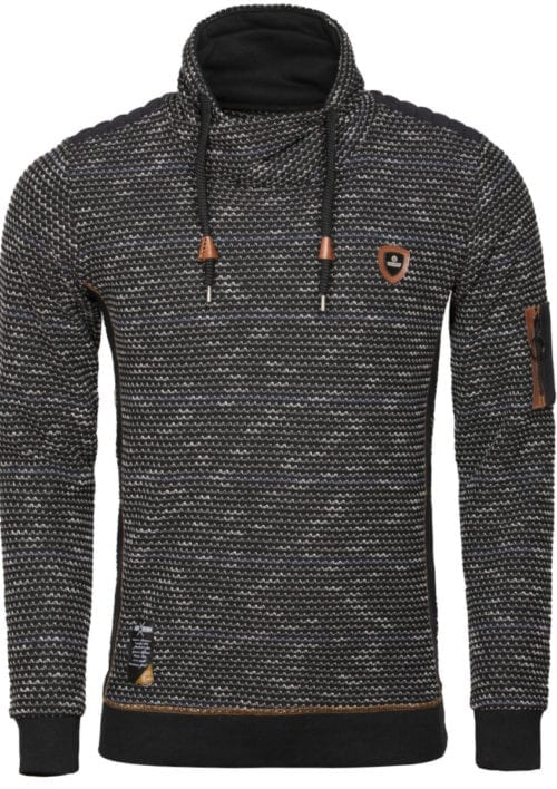Wam Denim trui met sjalkraag heren Sweater 76231 Rochester Black voorkant