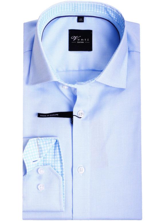 Strijkvrije overhemden van venti blauw gewerkt 193133600-350