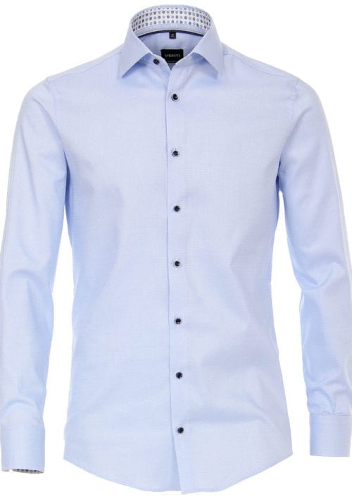Venti overhemd blauw kent boord motief print strijkvrij slimfit shirt 193133600-100