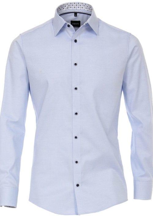 Ventioverhemdblauwkentboordmotiefprintstrijkvrijslimfitshirt