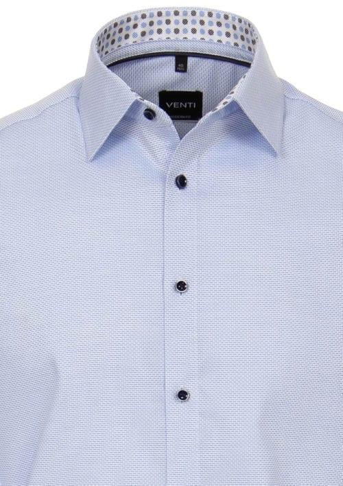 Ventioverhemdblauwkentboordmotiefprintstrijkvrijslimfitshirtdetail
