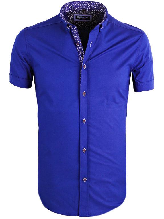 Heren overhemd korte mouw shirt blauw gewerkte boord button down Carisma ()
