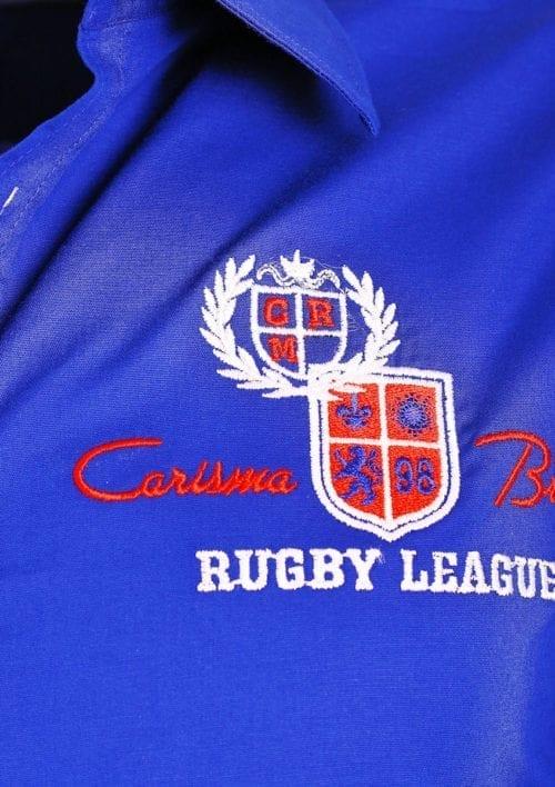 Carisma overhemd blauw heren lange mouw met print rugby league premium