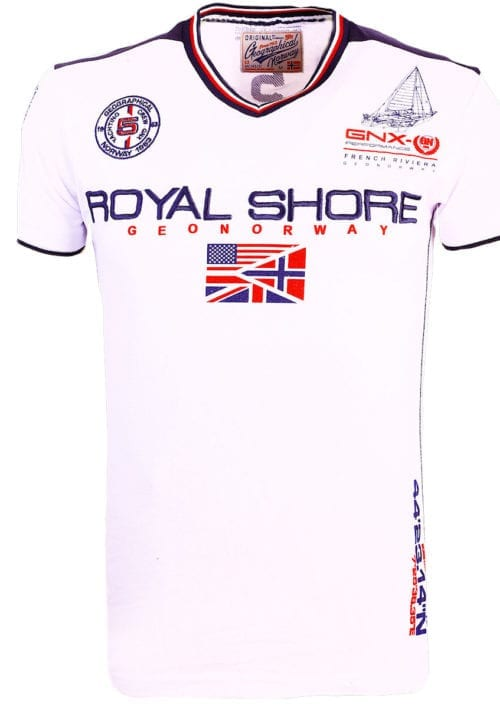 Geographical Norway t shirt heren royal shore wit jamacho bendelli()