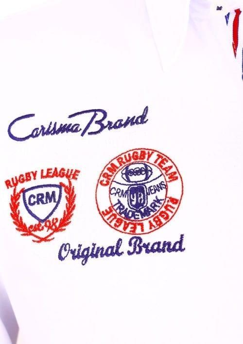 Korte mouw overhemd wit heren Carisma met print rugby league logo