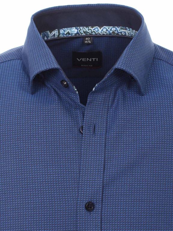 Venti overhemd blauw kent kraag gewerkt bodyfit fit stretch Bendelli
