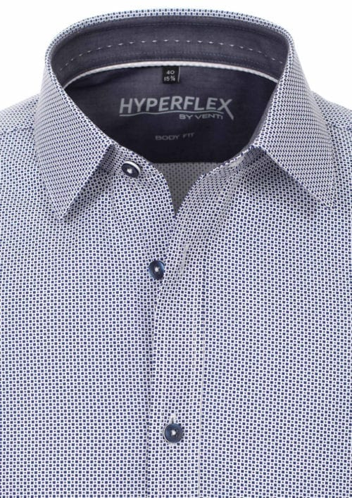 Venti overhemd blauw gewerkt hyperflex sneakershirt (4)