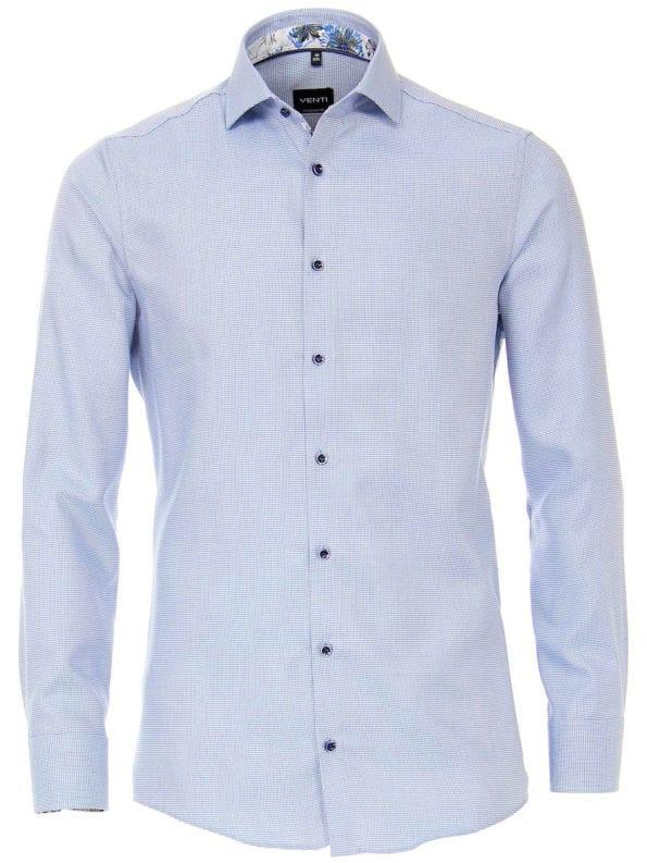 Venti overhemd blauw gewerkt strijkvrij kent boord lange mouw 103368000-700 (1)