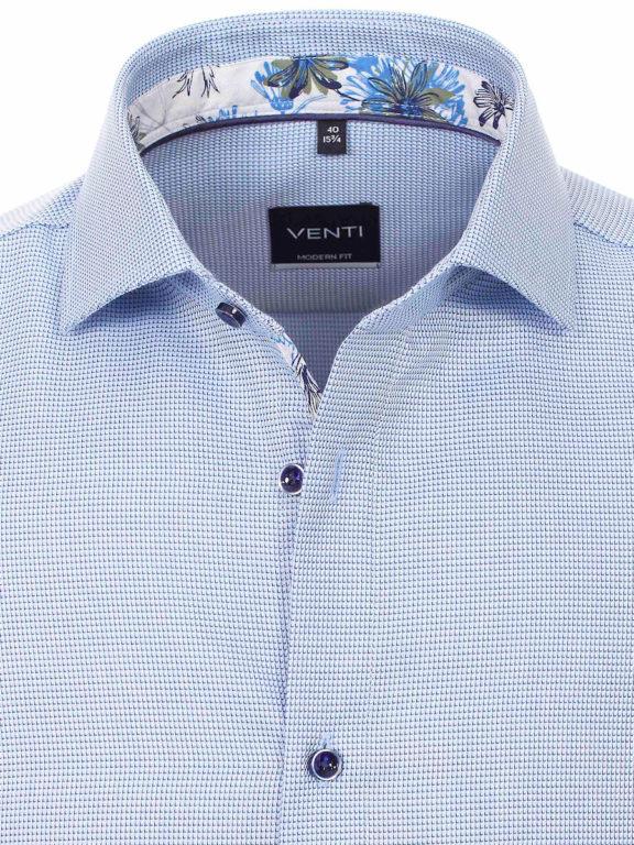 Venti overhemd blauw gewerkt strijkvrij kent boord lange mouw 103368000-700 (3)