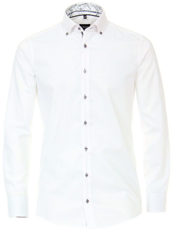 Venti overhemd wit met een motief strijkvrij kent boord lange mouw gewerkt 103370600-000 (1)