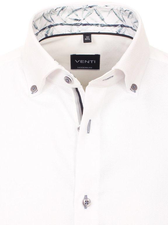Venti overhemd wit met een motief strijkvrij kent boord lange mouw gewerkt 103370600-000 (3)