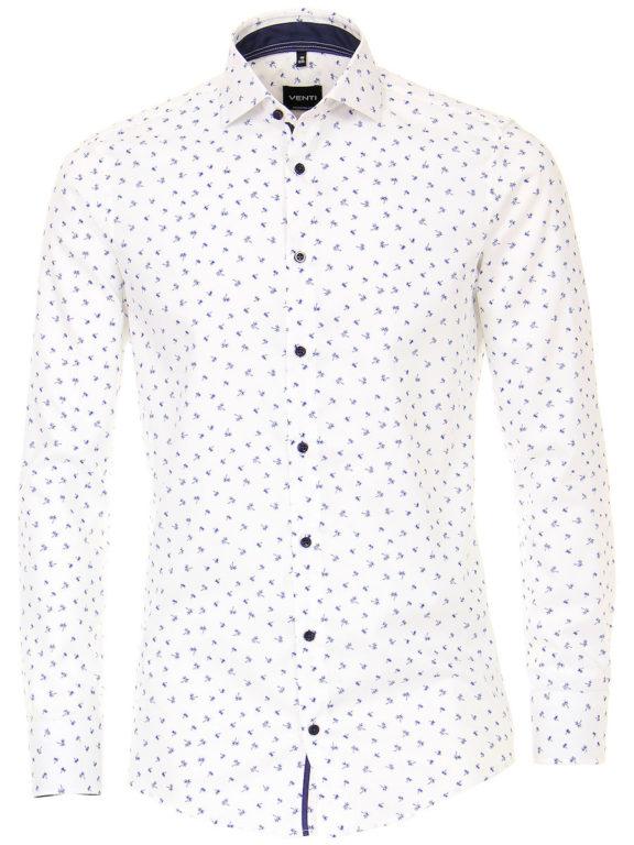 Venti overhemd wit met palmboom motief strijkvrij kent boord lange mouw 103368800100 (2)
