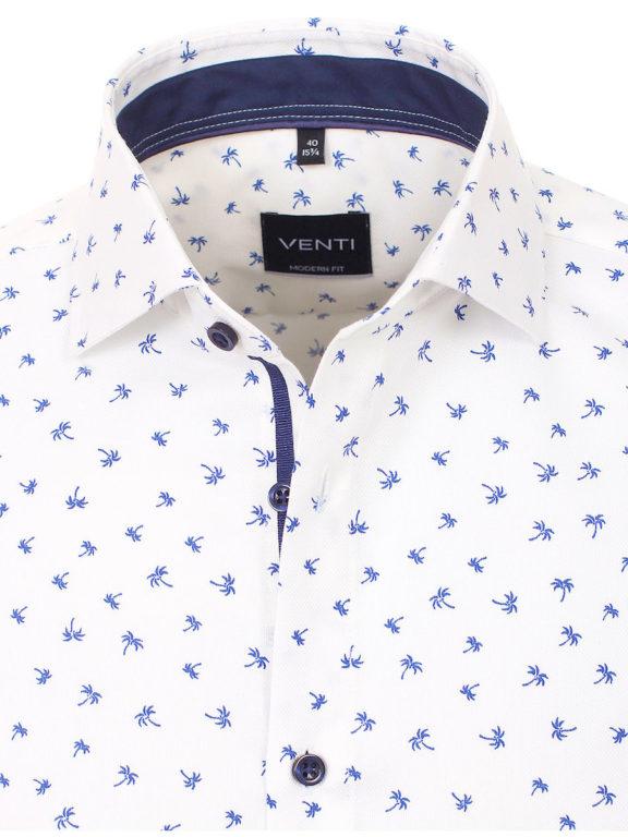 Venti overhemd wit met palmboom motief strijkvrij kent boord lange mouw 103368800100 (4)