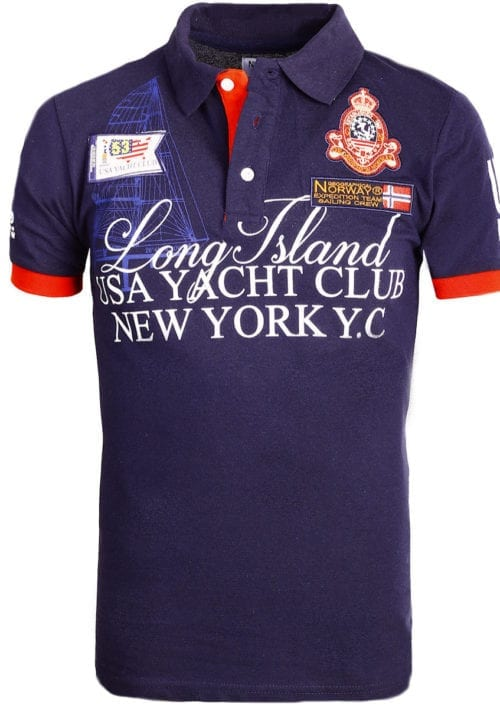 Geographical Norway poloshirt blauw Keylong Long Island New York USA (1)