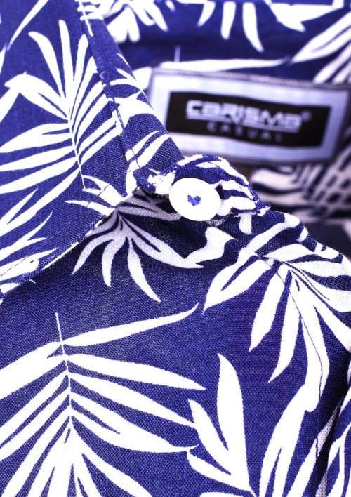 Carisma bloemen overhemd korte mouw heren blauw 9105 (4)