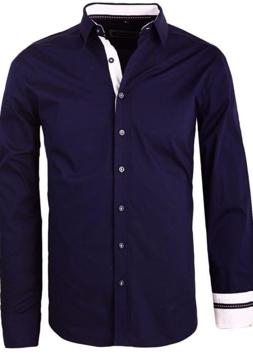 Carisma blauw overhemd lange mouw klassieke boord met stretch 8441 (1)