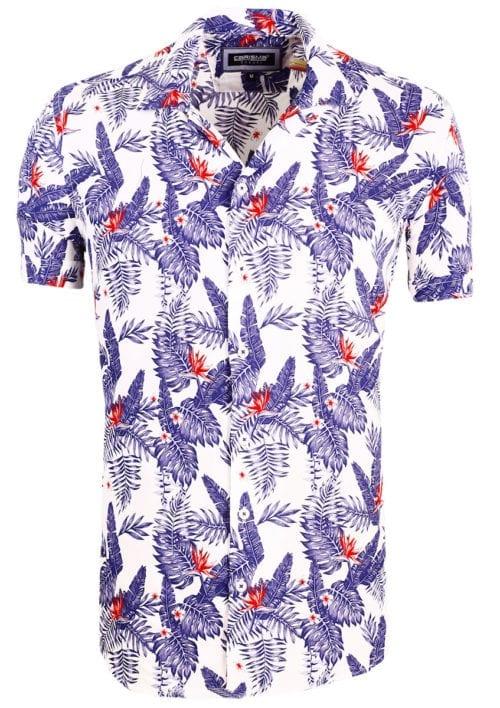 Carisma bloemen overhemd korte mouw viscose heren blauw 9104 (3)
