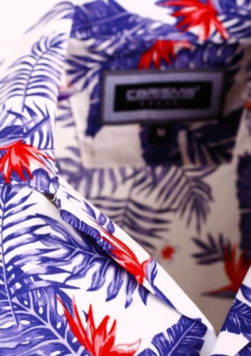 Carisma bloemen overhemd korte mouw viscose heren blauw 9104 (4)