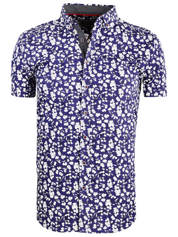 Carisma bloemenoverhemd korte mouw blauw shirt met bloemenprint 9113 (2)