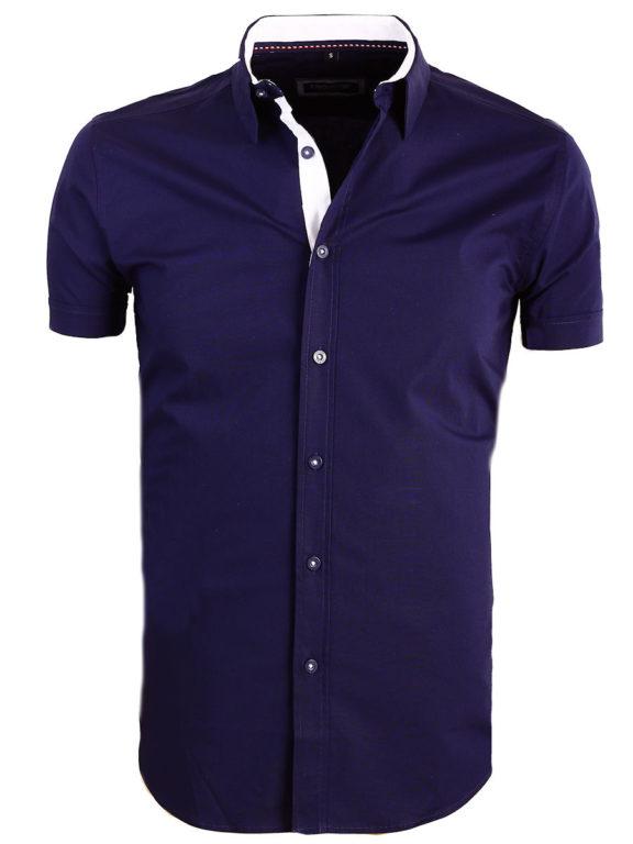 Carisma overhemd effen korte mouw met stretch blauw 9102 (2)