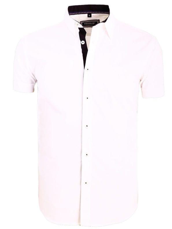 Carisma overhemd effen korte mouw met stretch wit 9102 (2)