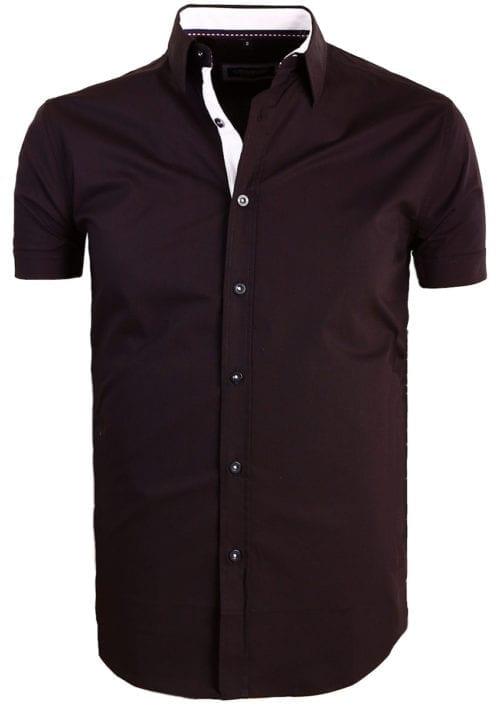 Carisma overhemd effen korte mouw met stretch zwart 9102 (1)