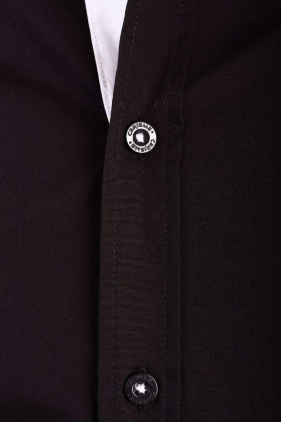 Carisma overhemd effen korte mouw met stretch zwart 9102 (2)