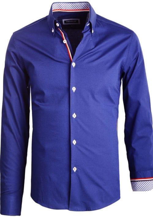Carisma overhemd heren lange mouw effen blauw 8466 (1)