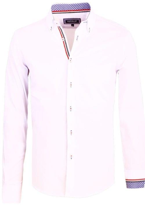Carisma overhemd heren lange mouw effen wit 8466 (2)