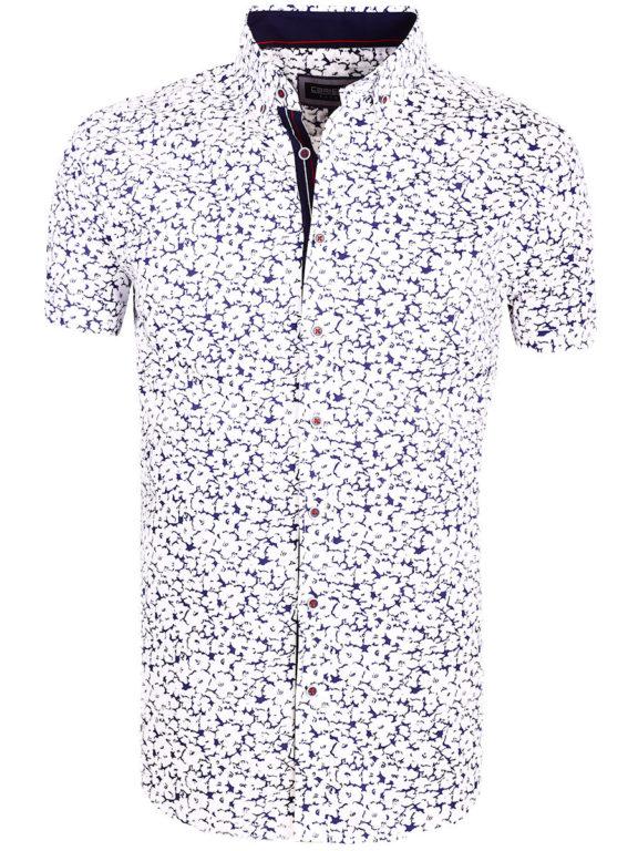 Bloemen overhemd met korte mouw wit Carisma 9114 (3)