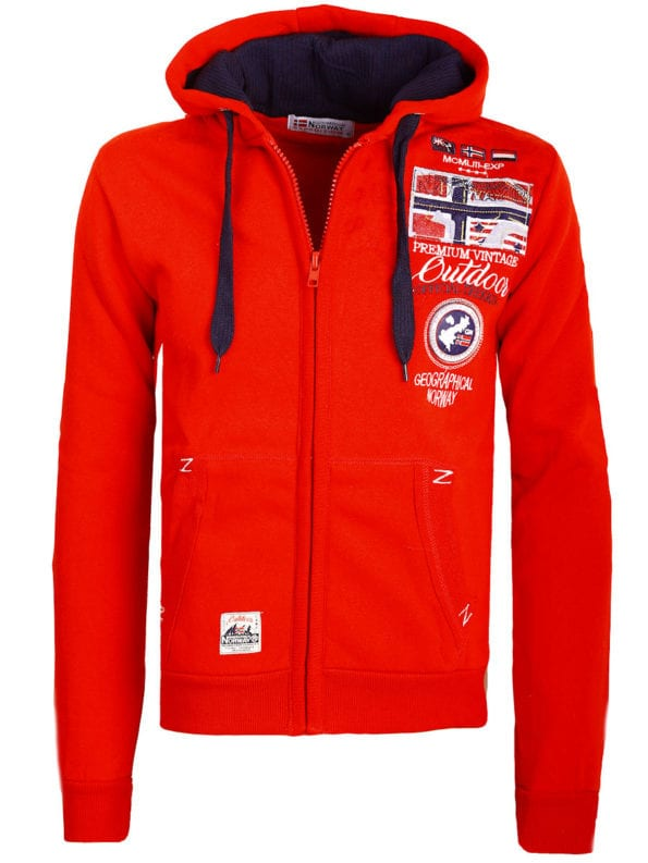Geographical Norway vest met capuchon rood expedition Gotham (2)