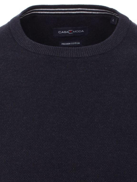 Casamoda Trui met ronde hals zwart premium katoen 403469600-135 (1)