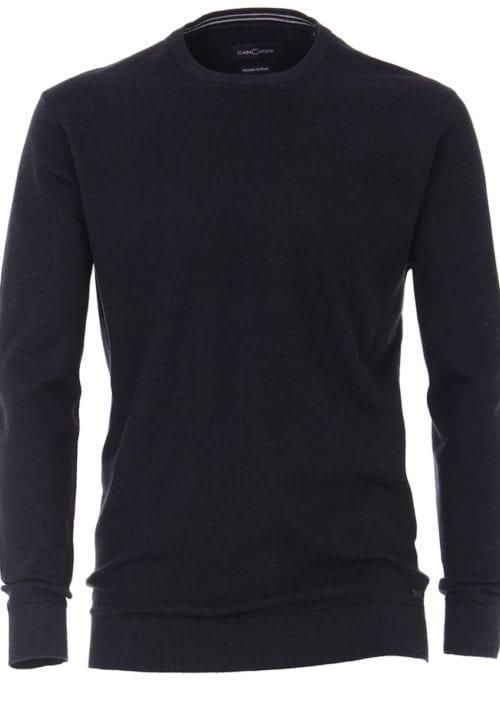 Casamoda Trui met ronde hals zwart premium katoen 403469600-135 (2)