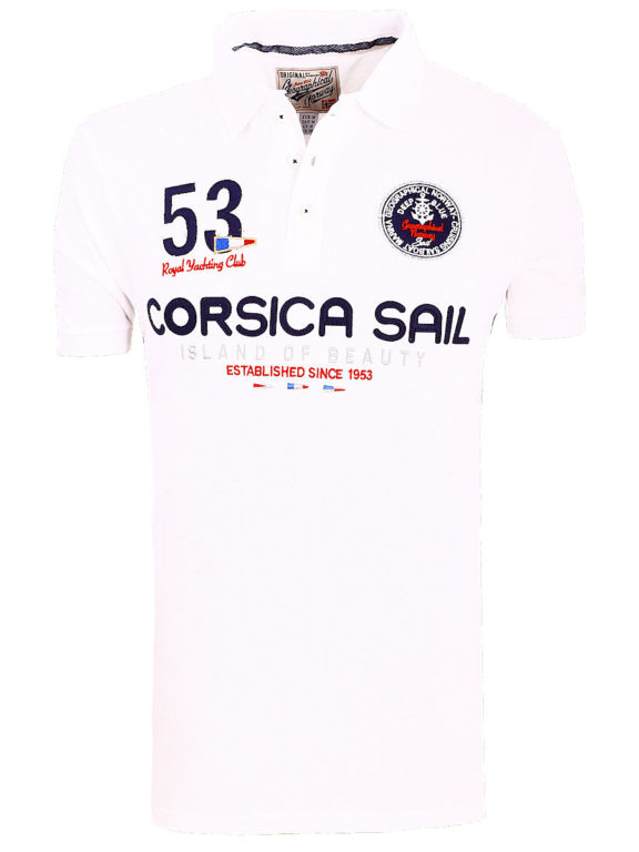 Geographical Norway Polo Shirt Wit Corsica Island Sail Poloshirts Kibutz (2)
