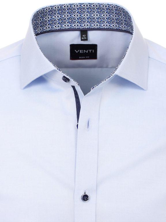 Venti overhemd blauw met motief in de kraag body fit en cute away boord 103522800-102 (4)