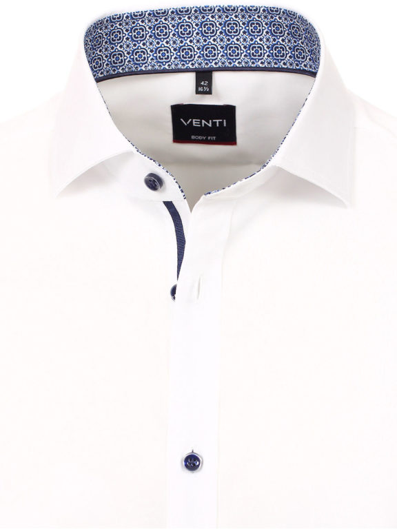 Venti overhemd wit met motief in de kraag body fit met cute away boord 103522800-000 (4)